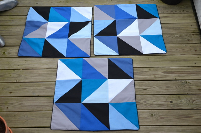 Blå Blue Patchwork Pillow Puder