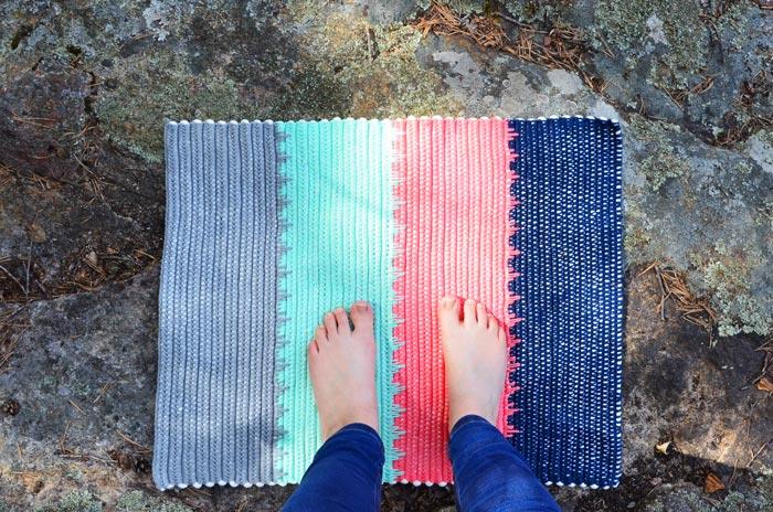 Hæklet bademåtte, hæklet tæppe, hæklet gulvtæppe