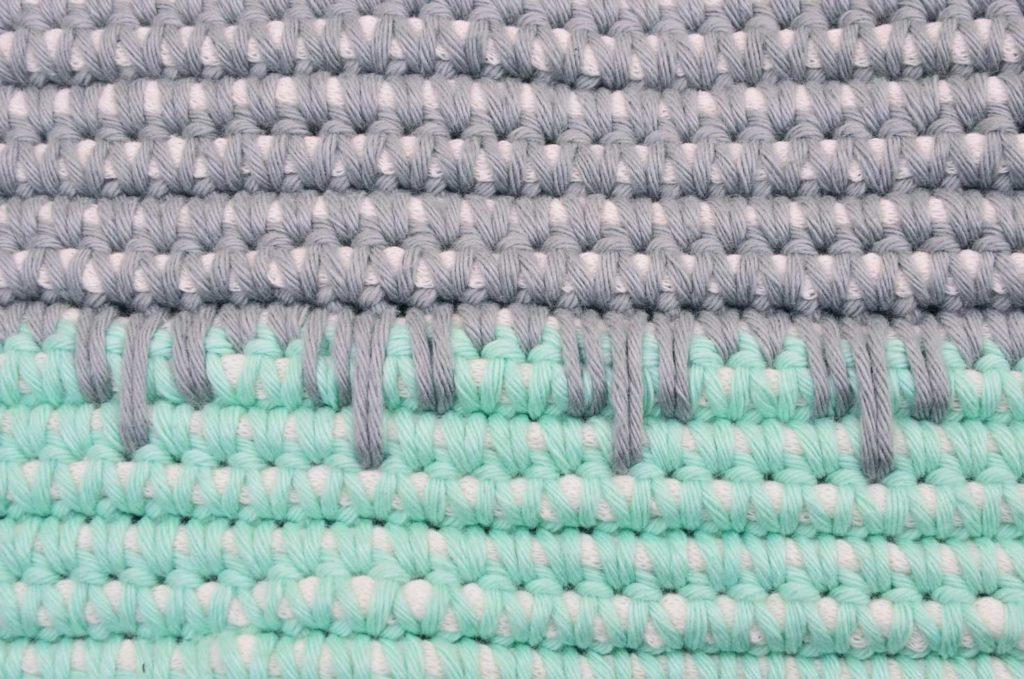 Coral mint grey navy, koral mint marineblå grå, hæklet bademåtte, diy bademåtte, diy gulvtæppe